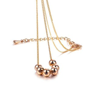 Queen Lotus Rose Gold Color Clavicle chain Necklace for Women Jewelry Accessories Fashion Round Bead Necklaces lady Best Friend