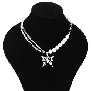 Цепи Бабочка Серебро Цвет Из Нержавеющей Стали Ожерелье Женщины Двойной Слой Заявление Ювелирные Изделия Подарочные Изделия Mujer 2021