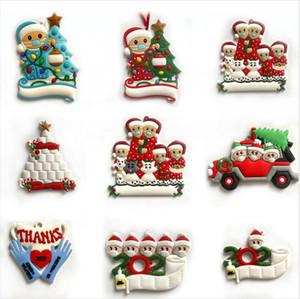 8 Styles Christmas Ornament DIY Greetings 2020 Quarantine Christmas Family Xmas Tree Hanging Pendant Party Decoration LJJP624