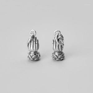 925 Sterling Silver Buddhism Prayer Loto Charm Pendant Pendant FAI DA TE Gioielli A28371