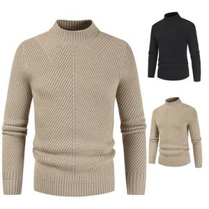 Mens Casual Простой шерстяной свитер O-образным вырезом с длинным рукавом Твердый толстый теплый Эластичный Тонкий моды качества Вязание Мужской пуловер
