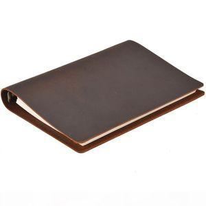 A5 정품 가죽 커버 노트북 100 시트 루스 리프 다이어리 여행 저널 스케치북 플래너 선물 사무실