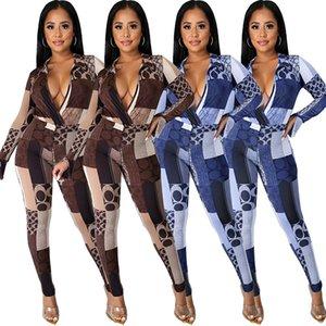 Sexy Women Fashion Clothing Nightclub Dress Geometric Print Split Flared Sleeve Jacket Two Piece Set New