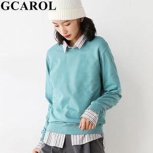 GCAROL Women O Neck Candy Long Hooded Oversized Loose Sport Sweatshirt Cotton Blends High Street Autumn Winter Jersey 5 XL 201019