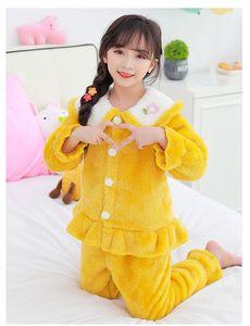 LZH 2020 Autumn Casual Childrens Suit Cute Home Wear Pajamas For Girls Flannel Kids 2Pcs Suit Pajamas Warm Winter Kids Clothes