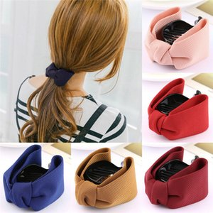 Sweet Fabric Bow Hair Claw Elegant Women Solid Cloth Ties Banana Hair Crab Clips Ponytail Hold Girl Hair Accessories