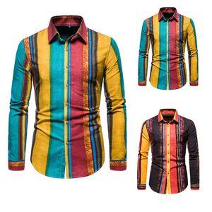 SZMXSS hombres ocasionales adelgazan las camisas rayadas de moda Streetwear Social de manga larga de la marca de ropa masculinas camisas clásicas tapas de botón