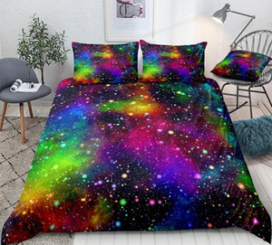 Colorful Galaxy Duvet Cover Set Multicolor Outer Space Bedding Universe Nebula Night Starry Sky Quilt Cover Rainbow Kid Dropship 1012