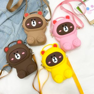 جديد سيليكون الصغيرة أنثى الكتف لطيف الكرتون الدب الهاتف المحمول حقيبة متعددة الاستخدامات واحدة رسول حقيبة محمولة بالجملة