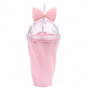 1 pc Straw Water Bottle Bowknot Plastic Twisted Candy Color Portable Drinking Cup for Girls Kids kgdg#
