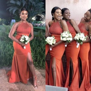 Black Girls Cheap Sexy African Mermaid Bridesmaid Dresses Halter Neck Side Split Plus Size Wedding Guest Dress Draped Maid of Honor Gowns