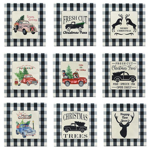 Vintage Merry Christmas Pillowcase 45*45cm Christmas Tree Car Elk Cotton Linen Sofa Cushion Pillow Cases Home Decor Pillow Cover