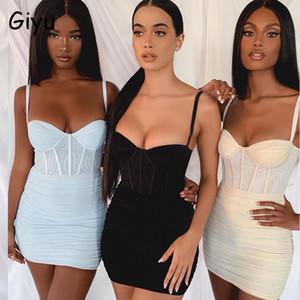 Giyu Sexy Mesh Club Night Club Fiesta Mujeres 2020 Spaghetti Strap Strap Backless Bodycon Mini Vestidos Elegantes Vestidos Ruchados T1101