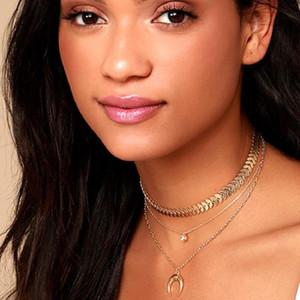 Retro Bohemian Pearl Collar Multi Layer Formado Cadena Colgante Cadena de trigo Collar Pearl Collarbone Mujer