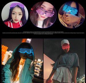 EL 와이어 네온 LED 선글라스 라이트 업 안경 레이브 의상 파티 DJ 선글라스 생일 파티 장식 10 개 색상 FWF2438