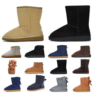 2020 women classic snow boots ankle short bow fur boot for girl Blue black chestnut women winter shoes size 36-41
