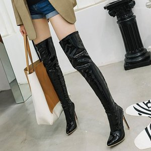 INS HOT women over-the-knee boots plus size 22-28 cm European and American super high heel long boots leather thigh high1