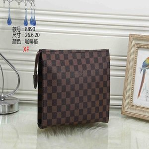 Fashion designer makeup bag cosmetic bags case pouch toiletry bag top quality Watercolor Batik brown letter check canvas handbag