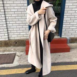 Snordic зимы женщин Vintage Beige капюшоном длинный шерстяное пальто куртки пояса Сыпучие Шерстяной Шинель Теплый кардиган плащ