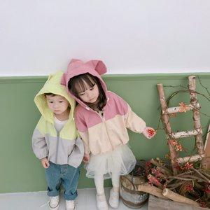 Otoño niños lindos niñas moda remiendo con capucha chaquetas con capucha chaquetas niños conejo orejas Orejas lindo polvo abrigo LJ201125