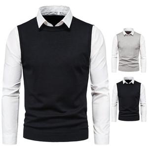 Slim Mens Falso Due maglioni a maniche lunghe Collo a risvolto Collo Bianco Camicie di colore Pullover Solid Color Men Knit Vest