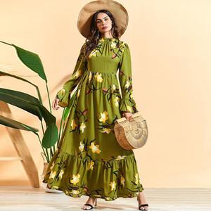 Siskakia maxi robe élégante tenue à collier de colle à colle à manches longues une ligne robes de ligne Vert Plus Taille Lily Imprimé Femme arabe Vêtements 2020 LJ200824