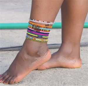 Perline di cristallo bracciali cavigliere spiaggia delle donne Handmade del calzino Stretch braccialetto alla caviglia del braccialetto del polso sandali a piedi nudi del piede dei monili LY10191