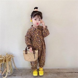 A001 Fall INS Newest Little Girls Rompers Jumpsuits Floral Cotton Front Buttons Designer Children Bountique Clothes 1-6T