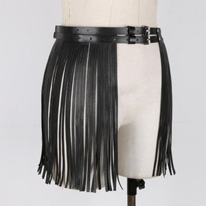 Fashion Women Faux Leather Fringe Tassel Skirts Belt Nightclub Party Dancing Costumes Adjustable Double Waist Belts with Buckles