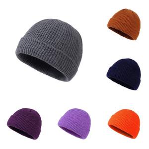 Зимний открытый теплый конфеты шляпа Улица хип-хоп шляпа вязаная сплошной цвет HAT мужской универсальный пуловер крышка сторона крышки T500312 пары