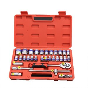 32 Pieces Sleeve Set Auto Repair Toolbox Sleeve Ratchet Wrench Set Auto Repair Kit Professional Car