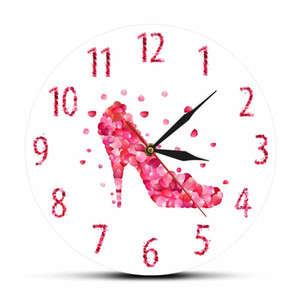 Pink Rose Petal Style High Heels Shoe Silent Wall Clock Pink Fashion Wall Art Woman Bedroom Girly Home Decor Hanging Wall Watch