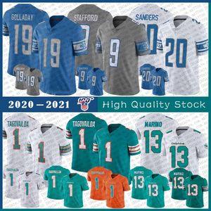 19 Kenny Golladay 9 Matthew Stafford 20 Barry Sanders DetroitLion Football jersey MiamiDolphin 1 Tua Tagovailoa 13 Dan Marino
