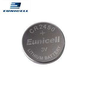 100pcs التي / الكثير Eunicell 350MAH CR2450 CR 2450 بطاريات ECR2450 KCR2450 5029LC LM2450 زر خلية البطارية كوين ليثيوم 3V ووتش