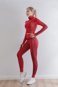 Buy red sportswear and get 1 masks ladies sports tight long sleeve suit fitness long sleeve yoga seamless set