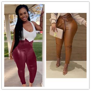 Yeni Tasarımcılar kadın Pantolon Moda Seksi Tayt Bayanlar Sonbahar Ve Kış Rahat Düz Renk Deri Pantolon S-4XL Giyim 3 Renk F92904