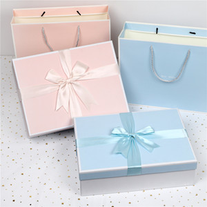 Bow pink blue gift box shirt underwear packing box Christmas gift box for best friend and bridesmaid