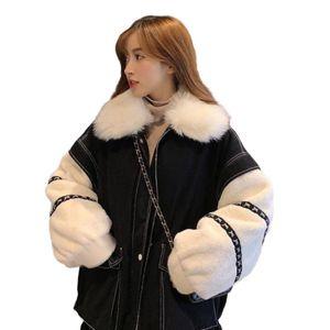 Leiouna Denim Mujeres gruesas manga empalmada Harajuku BeFree Chaqueta Mujer Patchwork HIVER Streetwear Winter Warm Abrigo