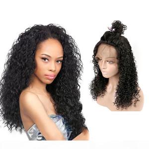 nuovo fatto in Cina i capelli umani remy vergini lungo colore naturale riccio crespo Cap parrucca piena del merletto Lordo per la ragazza