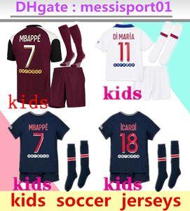 Kids 20 21 Mbappe Soccer Jerseys 3rd 4ht Kits 2020 2021 Maillot Icardi Boys مجموعة كاملة موحدة كرة القدم قميص