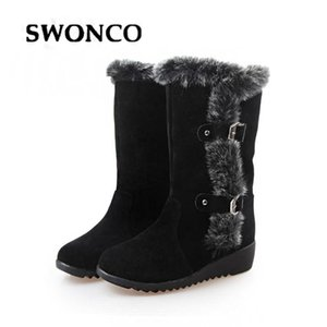 SWONCO Warm Shoes Woman Winter Boots Winter 2020 Flock Ladies Fashion Snow Boots Shoes Round Toe Mid-Calf Botas Mujer