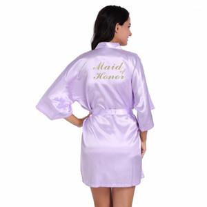 Luz púrpura criada de honor letra Golden Glitter Print Kimono Robes Mujer Bachelorette Boda Prepare prendas de preparación nupcial Party Robes1