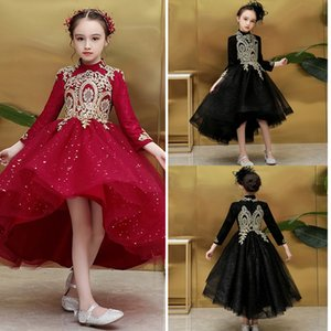 Black Red Little Girl Pageant Dresses With Gold Lace High Collar High Low Bling Tulle Flower Girl Dress Prom Evening Party Dress Kids