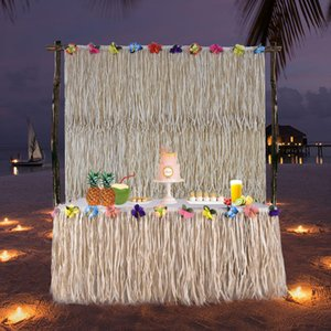 Style Hawaii Beach Cloth Tutu Skirt for Hotel Wedding Birthday Party Table Decoration Christmas Tablecloth Square O0NM