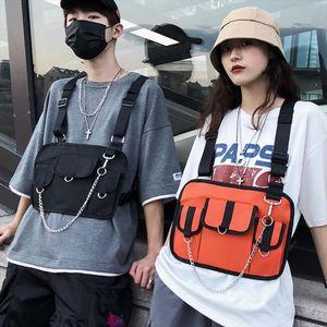2019 Women Men Hip Hop Tactical Waterproof Black Bullet Tool Streetwear Bags With Chest Bag Rig Street Vest Waist Pack 199