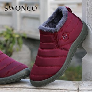 SWONCO Boots Women Winter Warm Shoes Plush Fur Velvet Fur Casual Booties Women's Shoes Snow Boots 2020 Mommy's Ankle Boot Female
