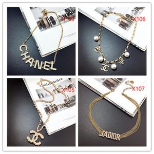 Kolye Kadınlar Dior inci altın kolye Uzun Triko Zinciri Colar CC kolye Simüle İnci ewelry bijuks femme Yılbaşı Hediyeleri