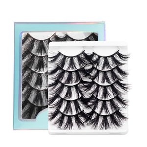 Reusable 25mm mink lashes 5D multilayer thick curling makeup eyelashes extension 5 pairs per pack with box 8 styles