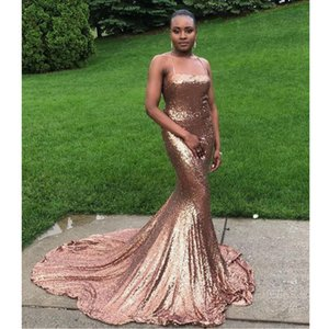Sparkly Champagne Sequin Prom Dresses 2021 Spaghetti Straps Sexy Mermaid African Women Evening Dress Long Graduation Gowns