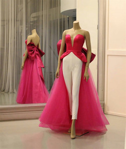 Rose Jumpsuits Evening Dresses Fashion Sexy Sweetheart Backless Ruched Prom Dresses With Big Bow Floor Length Formal Party Wear